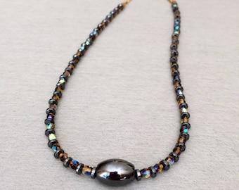 Womens Hematite Necklace Small Beaded Minimalist Necklace Beaded Choker Necklace Black Stone Hematite Tiny Bead Contemporary Necklace Gift