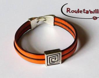 Orange leather, silver bracelet