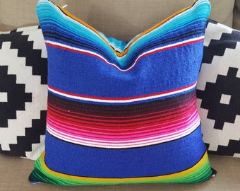 "Handmade Blue and Multi Color Serape Pillow Covers 18""x18"" Mexican Blanket Fabric with Zipper Closure"