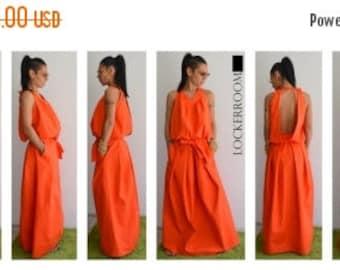 ON SALE Maxi dress / Orange Long Dress / Orange Oversize dress/ Woman Orange dress / Open back dress