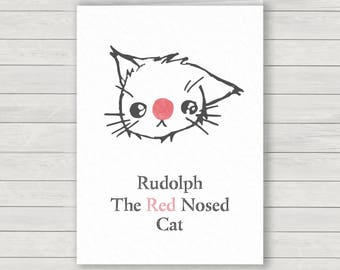cat card, Red Nosed Cat Christmas card/postcard, Humorous, cat card