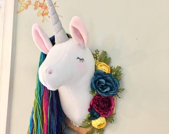 Kaliah rainbow unicorn head faux taxidermy unicorn ready to ship