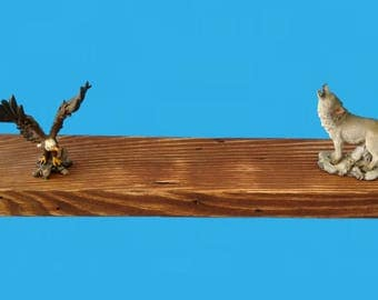 """yellow pine wood floating shelf 20"""" by 5"""" by 1-1/2"""" Eng chestnut stain distressed-635"""