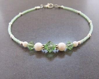 Anklet, ankle bracelet, Swarovski Peridot Anklet, Swarovski Pearl Ankle bracelet, Crystal Beach Anklet