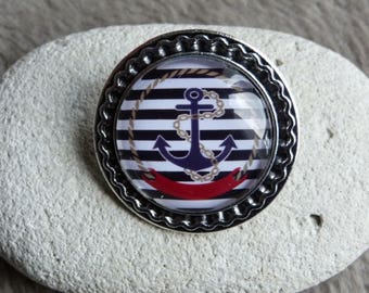 """Brooch """"Pirate"""" anchor and sailor pattern"""