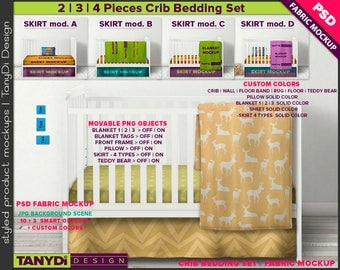 Crib Bedding Photoshop Fabric Mockup F-4CBS3 | PNG Movable Pillow Blankets Tags Stitches Teddy bear | 12 White crib Front view JPG Scenes
