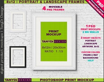 8x12 White Black Movable Frame & Metal rope | Photoshop Print Mockup 812-W1 | Portrait Landscape | Smart object | Custom colors