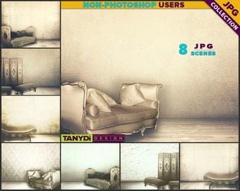 Living Room VRC1 | Vintage French Classic Sofa Interior | 8 JPG Blank Living Room Wall Styled Scenes | Wall Decor Scene Creator