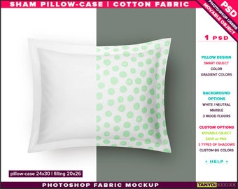 24x30 Sham Sleeping Pillow-Case | Filling 20x26 | Photoshop Fabric Mockup M6-2430 | Movable pillow | Smart Object Custom colors
