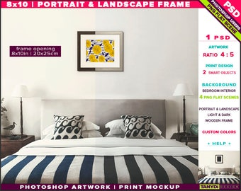 8x10 Wooden Frame on Bedroom Wall | Photoshop Print Mockup 810-BR2 | Portrait & Landscape | Smart object | Custom colors | Bedroom Interior