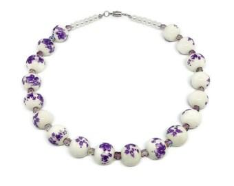 Purple Garden Ceramic Necklace