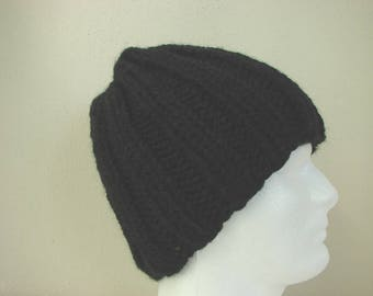 Hand knit mens hat black, adult hat, warm comfortable winter hat knit in round thick alpaca acrylic black beanie men, women chunky knit hat