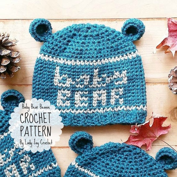 PATTERN: Crochet Baby Bear Beanie Infant and Toddler Size