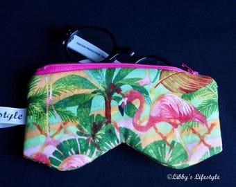 Flamingoes Glasses case. Handmade.