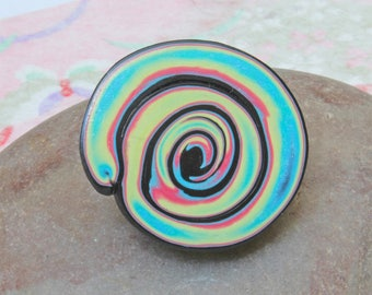 Freeform Spiral Brooch - Psychedelic Polymer Clay Brooch - Jazz - Hippy - Unique and Original