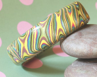 Bangle - Twisting Swirls - Handmade - Unique Retro Psychedelia Style - Polymer Clay