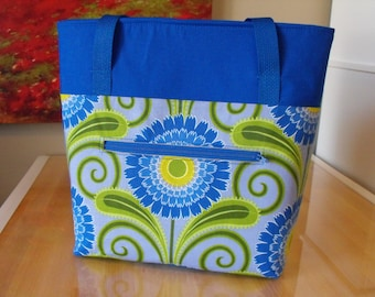Zippered Tote Bag - Blue Flower/Periwinkle/Green