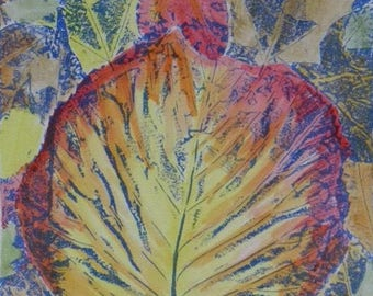 SALE! Original hand coloured collograph print made from leaf fall - Underfoot