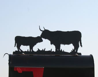 Highland Cow and Calf Metal Mailbox Topper, Metal Highland Cattle Mailbox Top, Ranch Mailbox Top