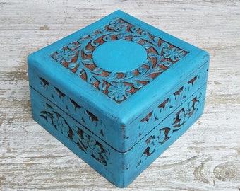 shabby chic box, blue box, shabby chic trinket box, trinket box , gift for her, carved box, jewellery box, vintage box