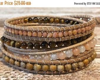 SUMMER SALE Chan Luu Style Wrap Bracelet / Healing Crystal Bracelet / Jasper Bracelet / Beaded Wrap Bracelet