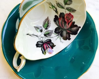 Royal Albert Masquerade Black Rose Turquoise Antique Tea Cup and Saucer