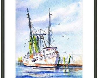 Fishing Boat Painting, ORIGINAL Watercolor, Hand Painted 9x12, Shrimp Trawler,  Nautical ocean, gift for him, Gulf Coast, Texas, Florida