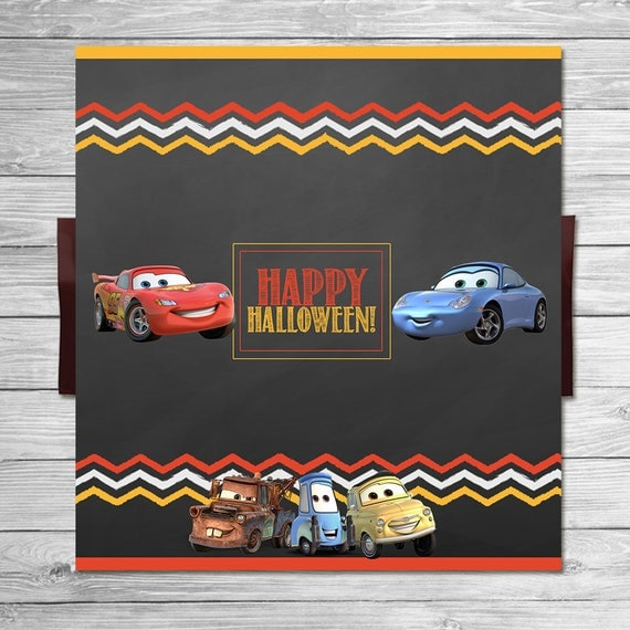 Disney Cars Happy Halloween Candy Bar Wrapper Chalkboard - Lightning McQueen - Disney Cars Halloween Printable - Cars Halloween Party Favor
