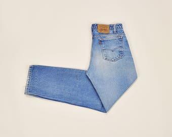 Levis 505 Jeans, Vintage 70s Levis Jeans, High Waist Jeans, High Waist Levis, Mens 70s Jeans, Rustic Worn Distressed Jeans Size 33 / 34