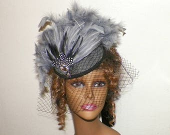 Gray Hat Fascinator Black Victorian Steampunk Cocktail Feather Gothic Lolita Headpiece Old West Costume Marie Antoinette