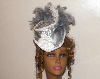 On Sale- Victorian Top Hat Mini Gray White Steampunk Lolita  Headdress Gothic Fascinator Headpiece  Marie  Antoinette
