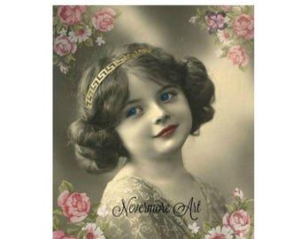 On Sale- Instant Download Child Print Victorian Girl Roses Printable Digital Collage Ephemera Altered Art Mixed Media Vintage Image Decoupag