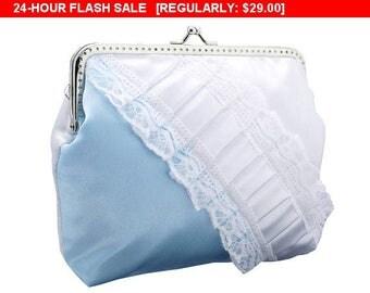 Sale 10% Bridal wedding blue white lace handbag, bridal clutch bag, womens white purse bag wedding, formal vintage style bridesmaid clutch