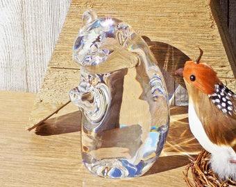 """Steuben Glass Chipmunk Figurine #8269 Katherine de Sousa 1971 Design Large Vintage 6"""" Signed"""