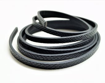 1,20 meter black leather cord, squale style, width 5 mm