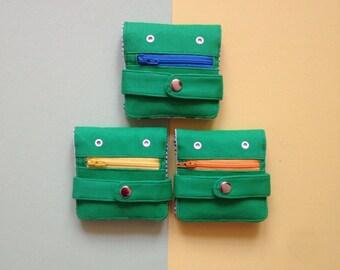 Hug Monster Wallet - Coin purse - Green - Handmade - silkscreen print