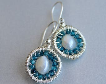 Pearl Earrings, London Blue Topaz Earrings, Sterling Silver Wire Wrapped, 925, Bridal Jewelry, Bridesmaids Gift