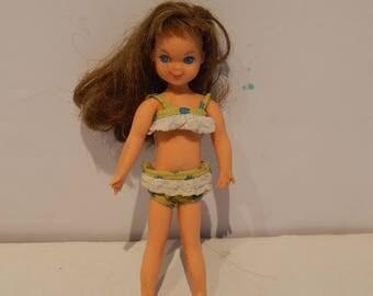 Vintage Brunette Tutti Doll Wearing Sea Shore Shorties 3614 Two Piece Swimsuit Mattel 1968