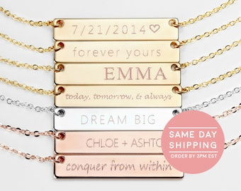 Custom Name Necklace Bridesmaid Gift Name Bar Necklace Personalized Best Friend Necklace - 4N