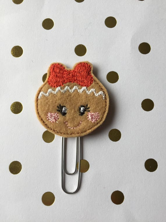 Gingerbread Sweetie With Bow planner Clip/Planner Clip/Bookmark. Winter Planner Clip. Gingerbread Planner Clip. Holiday planner clip