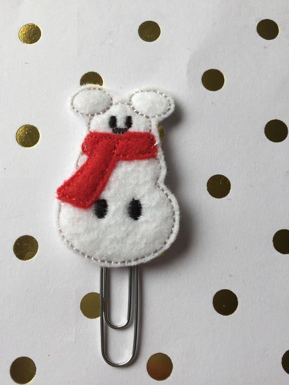 Mr. Snow Mouse planner Clip/Planner Clip/Bookmark. Holiday Planner Clip. Christmas planner clip. Snowman planner clip. Mouse planner clip