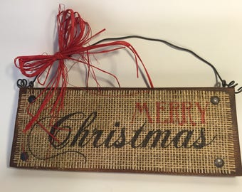 Wood Burlap Merry Christmas Sign