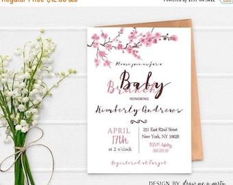 20% OFF Baby Brunch Invitation , Cherry Blossom Baby Shower Invitation , Floral Baby Shower Brunch Invitation , Printable