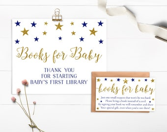 Blue Baby Shower Book Request Card, Books For Baby Card, Twinkle Twinkle Little Star, Invitation Insert, Boy Baby Shower - SG3