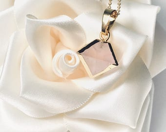 Gold Plated Geometric Rose Quartz Necklace
