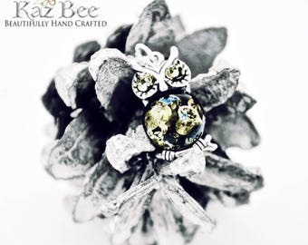 """Baltic Green Amber Owl set in Sterling Silver on 925 18"""" Sterling Silver Necklace"""