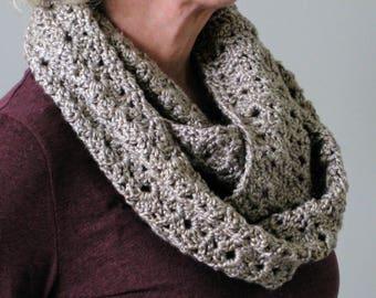 Crochet infinity scarf, beige scarf, crochet circle scarf, crochet lace scarf, crochet scarf, infinity scarf, beige circle scarf