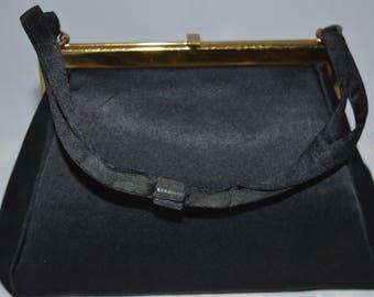 Vintage evening bag / black satin / gold trim / Morris Moskovitz / MM / gold satin lining / inside pockets / gold / black / satin / purse
