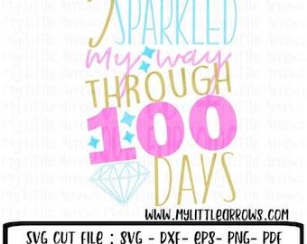 50% off - Sparkle svg - 100 days of school svg - school svg - SVG DXF EPS png files - 100 days of school diy - 100 days of school shirt - gi