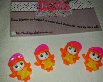 4 x girl Cap taille2.5 Orange cabochon * 2.00 cm